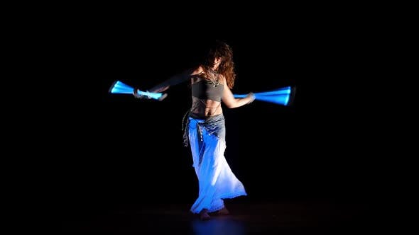 Thumbnail for Young Gipsy Woman Dance Neon Show In Ultraviolet Light 5