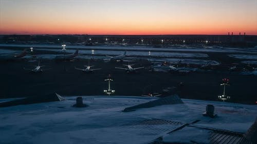 Airport Airfield At Sunset