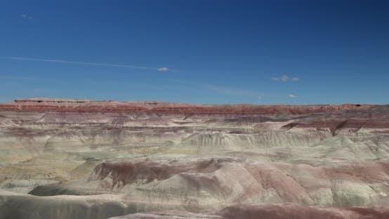 Soaring over a desert canyon