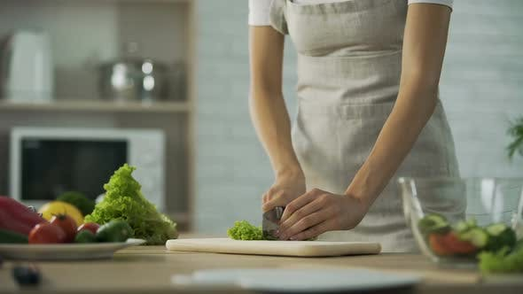 Cover Image for Girl Chopping Salad Leaf and Adding It Into Glass Bowl, Healthy Lifestyle, Diet
