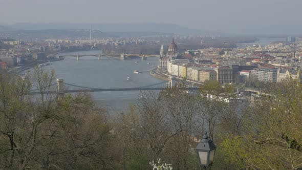 Thumbnail for Budapest famous Parliament and Danube river scene from Citadela sight 4K 2160p UltraHD panning foota