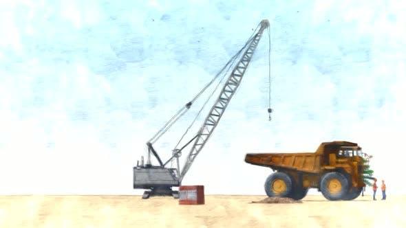 Crane Machine and Truck Stop Motion