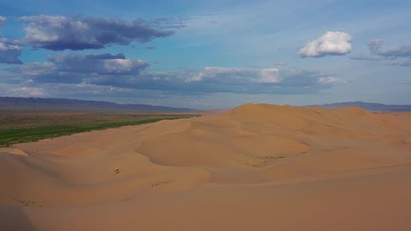 Thumbnail for Aerial View of Sand Dunes in Desert at Sunset