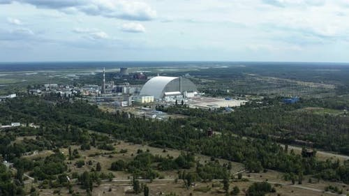 Aerial View of Chernobyl Nuclear Power Plant