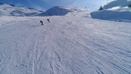 Snowboarding Slash In Powder Snow