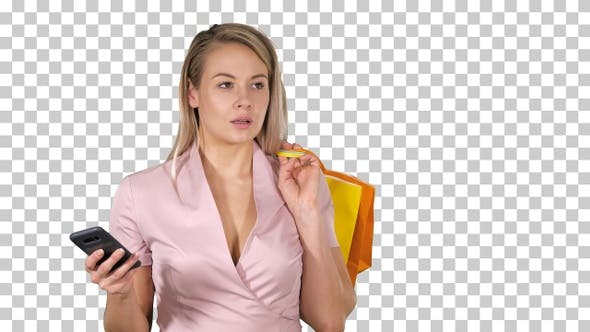 Thumbnail for Shopping woman text messaging, Alpha Channel