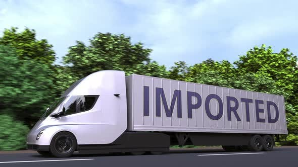 Thumbnail for Trailer Truck with IMPORTED Text on the Side