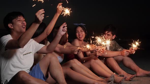 People enjoy with fireworks