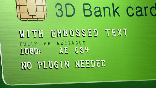3D Bank Card with Embossed Text