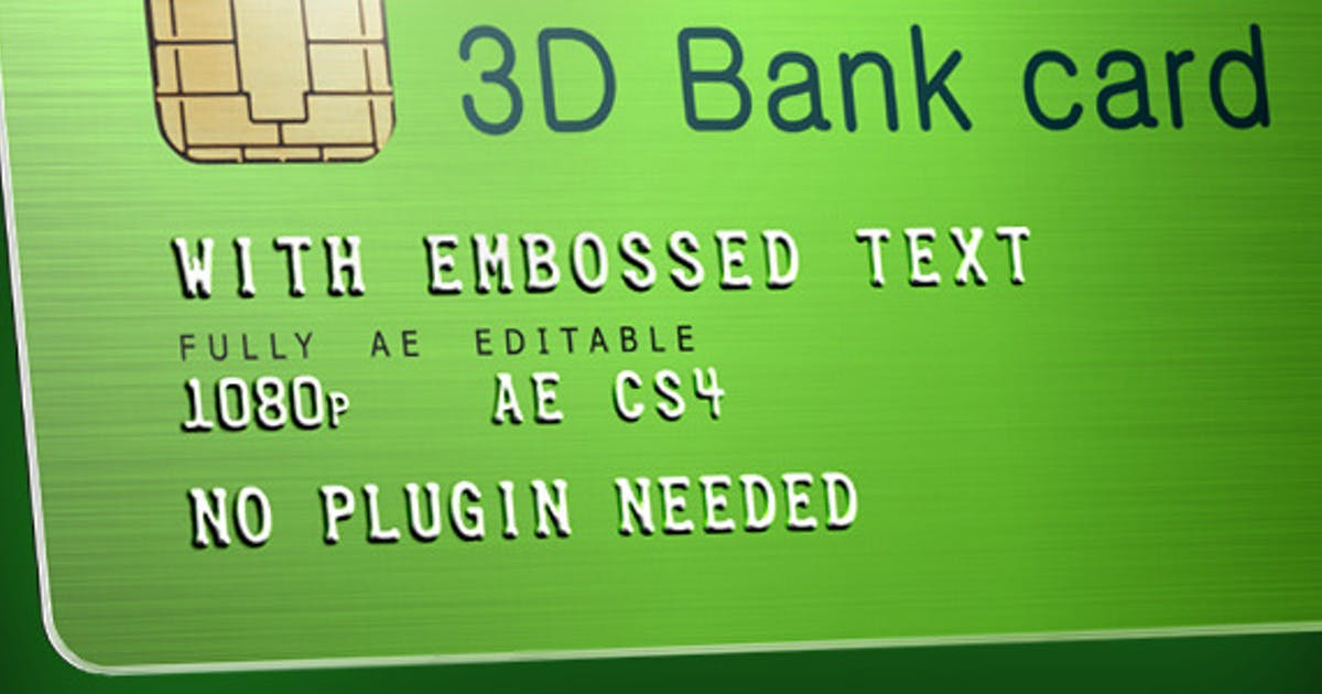 Download 3D Bank Card with Embossed Text by v68
