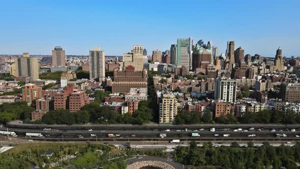 New York City NYC Cityscape Panning of Downtown Brooklyn District with Beautiful Aerial Skyline