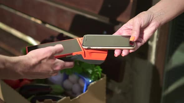 Contactless Payment with Phone at Food Delivery Spbd Closeup