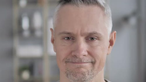 No, Face Close Up of Gray Hair Man Shaking Head To Reject