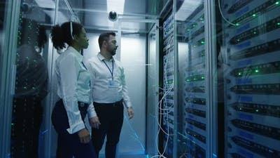 Two Managers Check Server Hardware