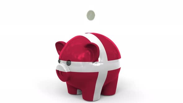 Thumbnail for Coins Fall Into Piggy Bank Painted with Flag of Denmark