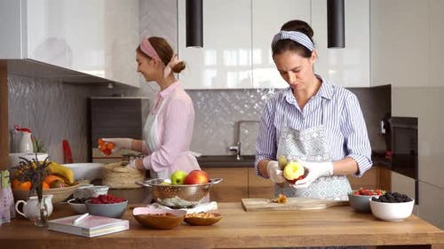 Women Cooking on Kitchen