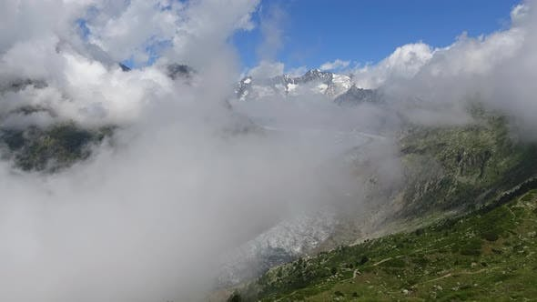 Time-lapse scene with Great Aletsch Glacier in national park Switzerland