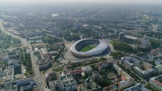 Thumbnail for Football Stadium in Minsk City Panorama of Center Cityscape Residential and Business Building