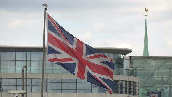 Thumbnail for Close up of the English flag waving in wind