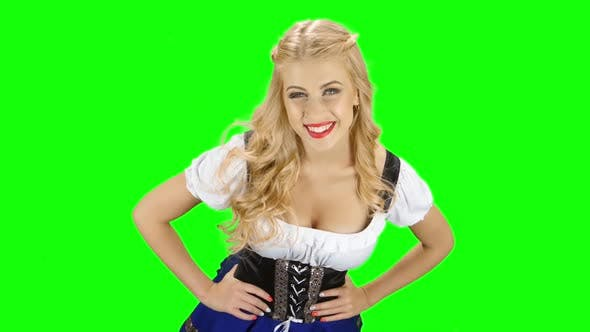 Thumbnail for Woman in Bavarian Costume Is in the Room and Touches the Hair, Green Screen