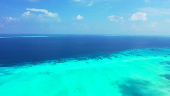 Thumbnail for Wide overhead abstract view of a summer white paradise sand beach and aqua turquoise water background