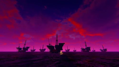 3D Graphics Oil Platforms In The Sea