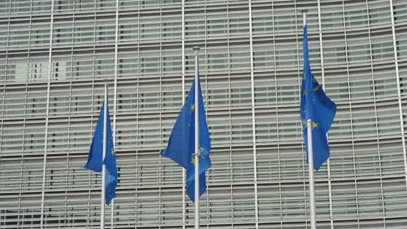 Thumbnail for Three EU Flags Waving at the Entrance To the European Parliament in Spring