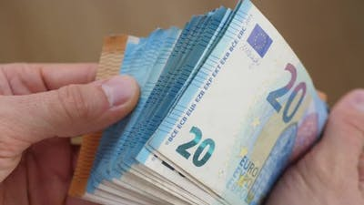 Man Holding Cash In Hands. Money, Wealth, Credit Concept.