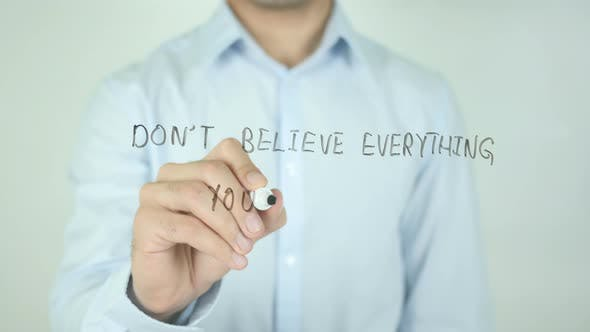 Cover Image for Don't Believe Everything You Think, Writing On Screen
