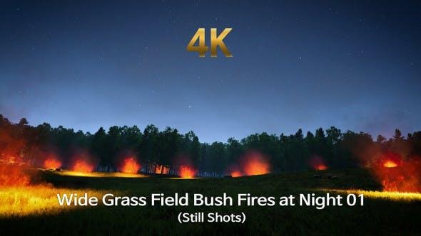 Thumbnail for Wide Grass Field Bush Fires at Night 01 (Still Shots)