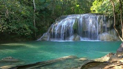 One of Waterfalls of Erawan Cascade in Thailand