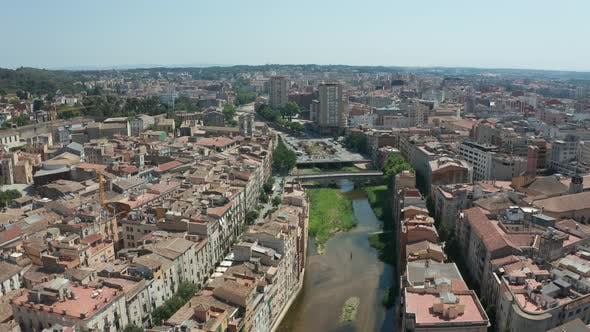 Thumbnail for Drone Shot of Old Town on River Onyar in Girona