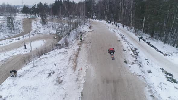 Thumbnail for Russia,Snowmobile Races in the Winter Season. Championship on Snowmobiles
