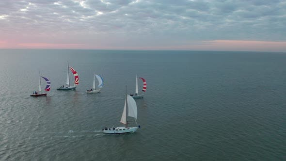 Thumbnail for Aerial View of Small Sailing Boats. Concept of Summer Sport.