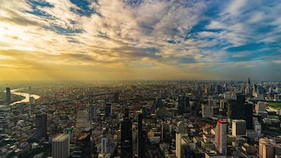 time lapse of Bangkok city with sunlight in evening, Thailand