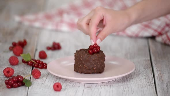 Thumbnail for Decorating the Chocolate Ice Cream with Berries