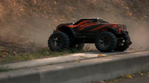 Monster Truck Car Climbs Uphill.