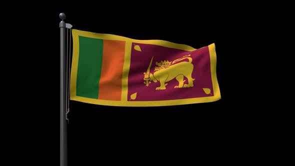 Sri Lanka Flag On Flagpole With Alpha Channel 4K