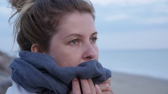 Thumbnail for Caucasian blond woman lonely near sea water slow motion slow-mo  1080p FullHD video - Female with sc