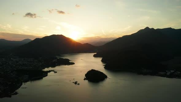 Thumbnail for Aerial View of Lake Kawaguchiko at Sunset, Japan. Aerial View