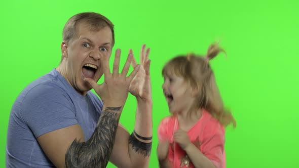 Thumbnail for Father and Little Daughter Playing Rock Paper Scissors. Chroma Key. Leisure Game