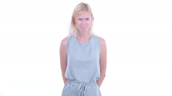 Thumbnail for Angry Young Blonde Woman Giving Thumbs Down