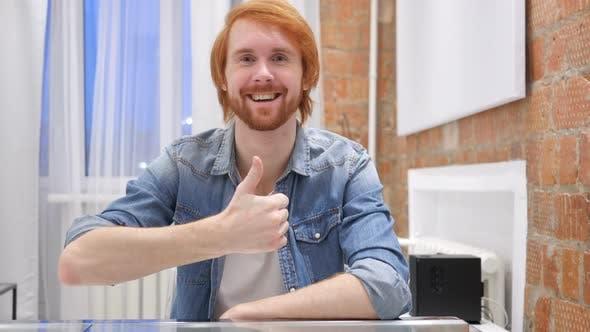 Thumbnail for Redhead Beard Man Gesturing Thumbs Up