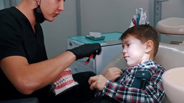 Thumbnail for A Little Boy Having a Treatment in the Dentistry - Discuss the Hygiene and Explaining How To Brush