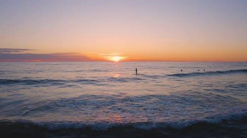 Surfer Silhouette on the Ocean