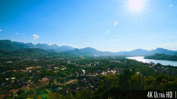 Thumbnail for 4K Luang Prabang Aerial Cityscape View From Phousi Hill, Laos