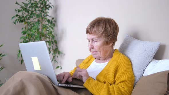 Grandmother Using Laptop Computer Resting In Bed. Elderly Care, Technology Concept
