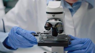 Close Up of Scientific Microscope in Laboratory