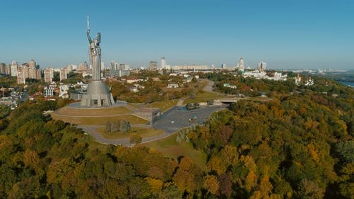 Motherland Memorial in Kyiv at Autumn