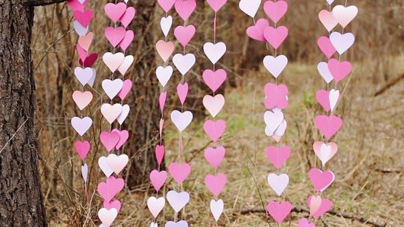 Thumbnail for Fluttering Pink Paper Heart Garlands